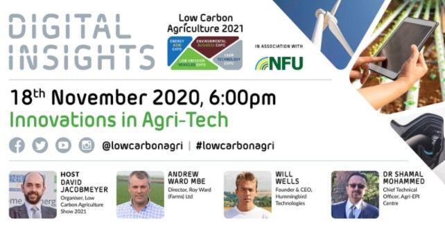 Join us next Wednesday in the 'Agri-Tech' Digital Insights webinar from@LowCarbonAgri  Our Founder and CEO, Will Wells, will be speaking alongside Andrew Ward@wheat_daddy and Shamal Mohammed@agri_epi #AgriTech  Register here! https://t.co/72J19cgMEY https://t.co/VSviDwBD2f