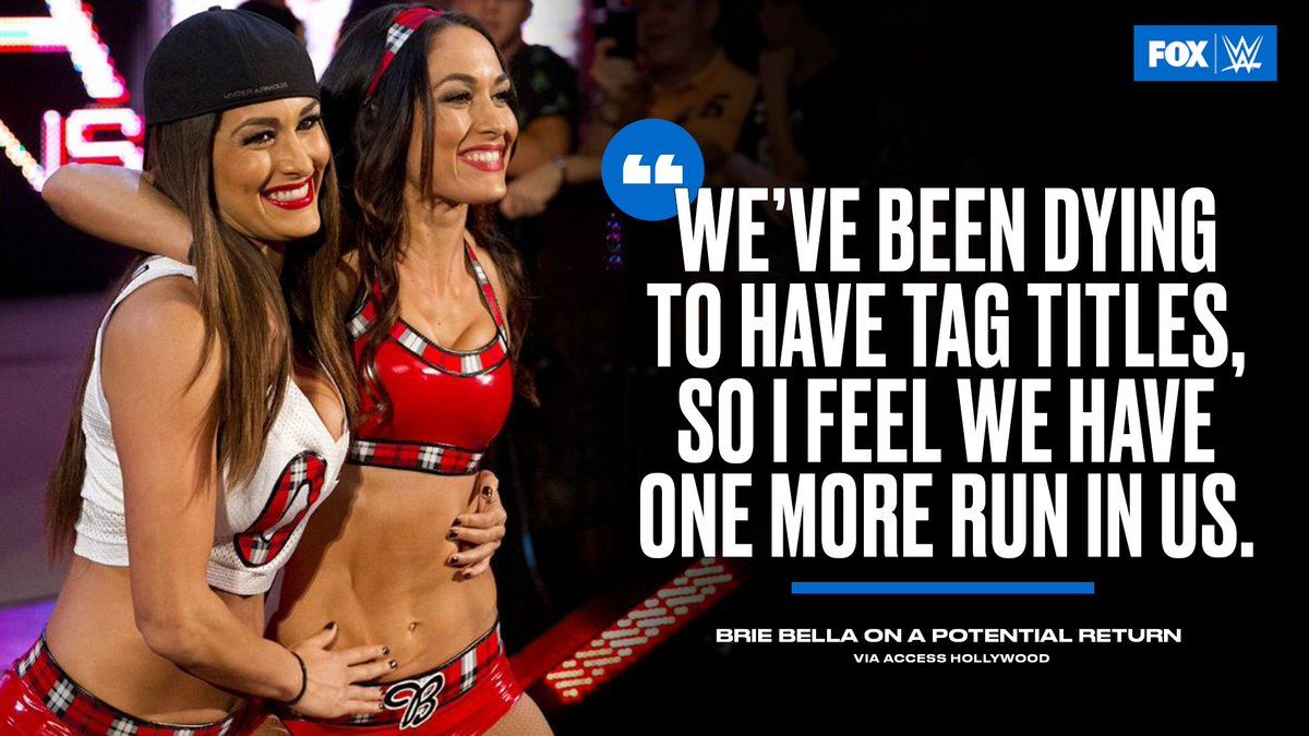 Would you like to see the @BellaTwins return and go after the @WWE Women's Tag Team Titles? https://t.co/C9FSPZZ6vg