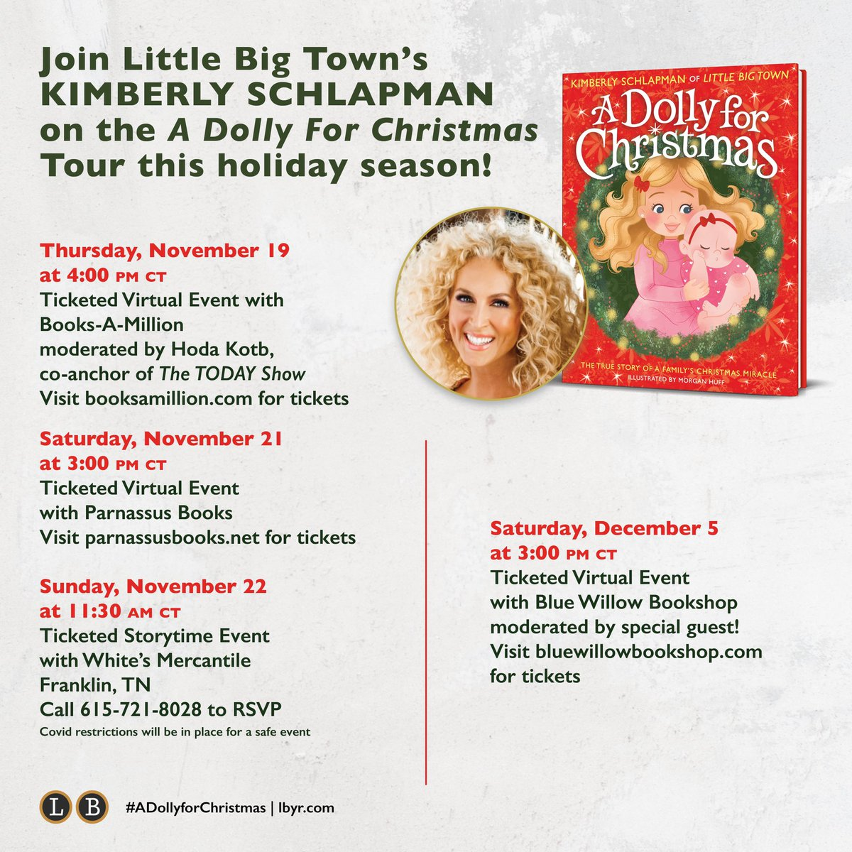 So excited for these next few stops on my book tour! Get your tickets now 💝 #ADollyforChristmas