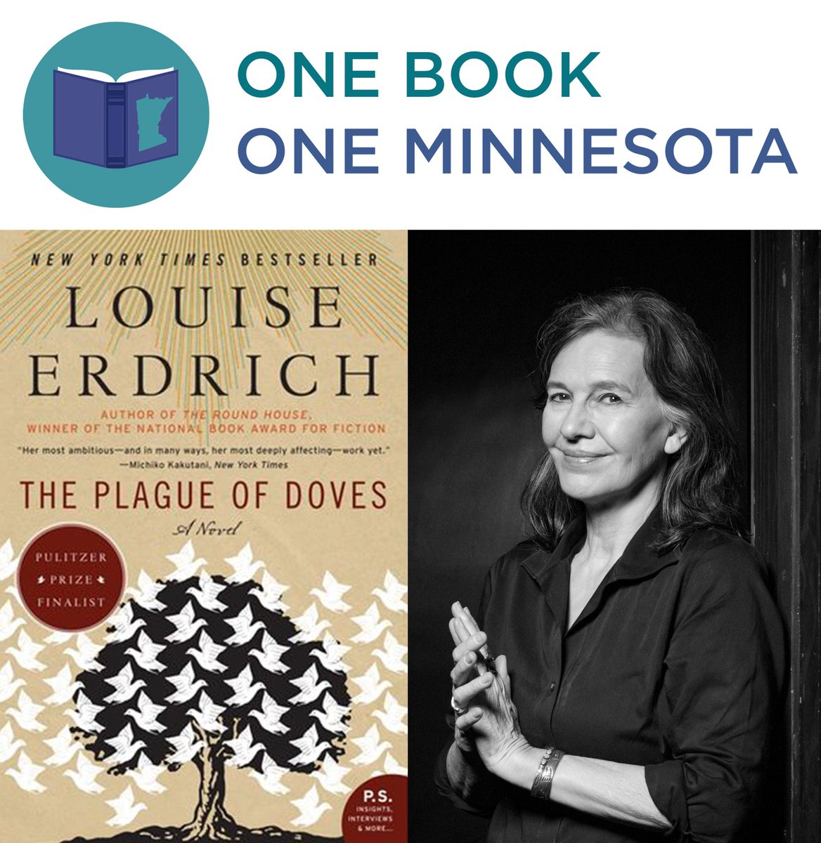 "One Book | One Minnesota is back for a third chapter. The featured book for the statewide read is Pulitzer Prize finalist ""The Plague of Doves"" by Minnesota author Louise Erdrich. thefriends.org/minnesota-cent… #onebookmn"