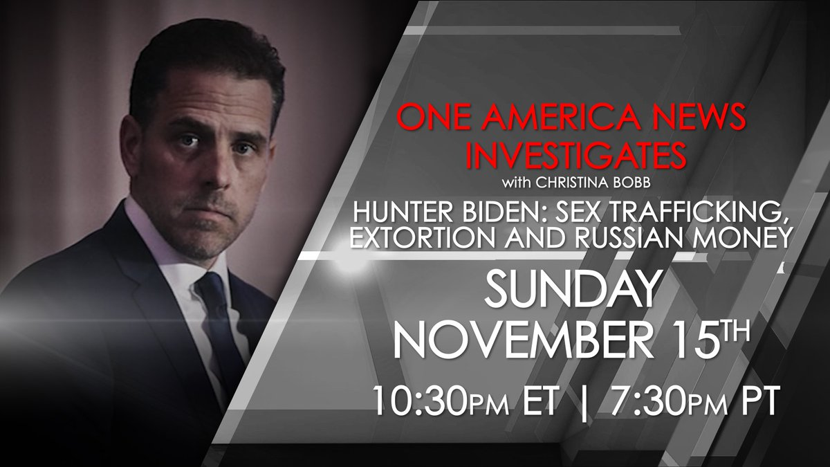 Join One America's @christina_bobb as she dives deeper into the secret deals, money laundering, and bribes that the Biden family conducted during Joe Biden's vice presidency.   Tune in Sunday, Nov. 15th at 10:30 p.m. ET / 7:30 p.m PT -- only on One America News! #OANN https://t.co/5kp9HBWkG7