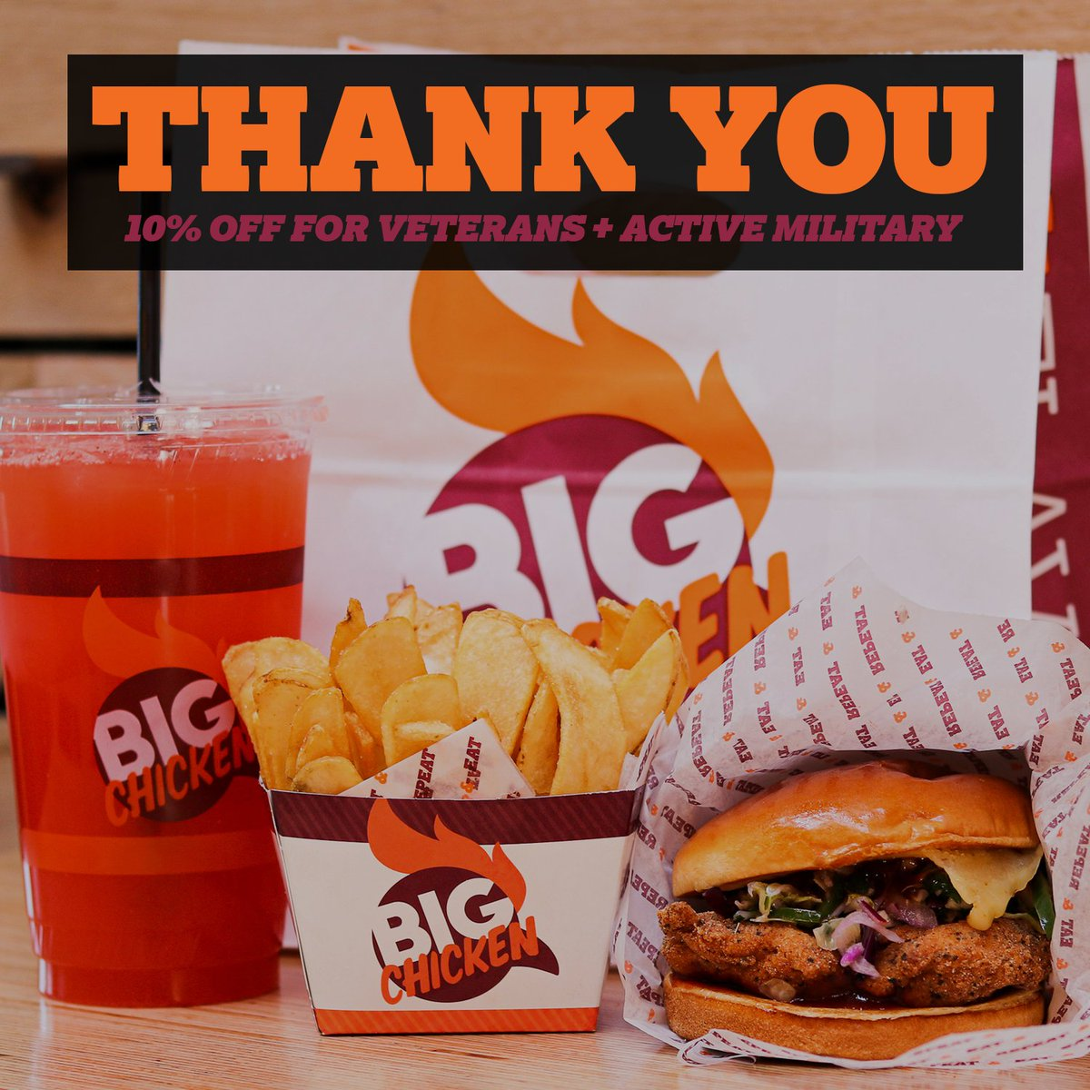 Thank you, Veterans 🇺🇸 #BigChickenShaq always offers 10% for veterans and active service members with military ID.