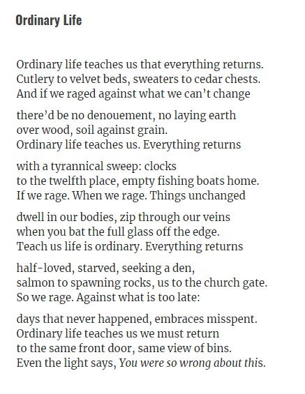 Another of my favourite Edinburgh (/Newcastle!) poets, @munozpoems. ORDINARY LIFE is fab. That last line.