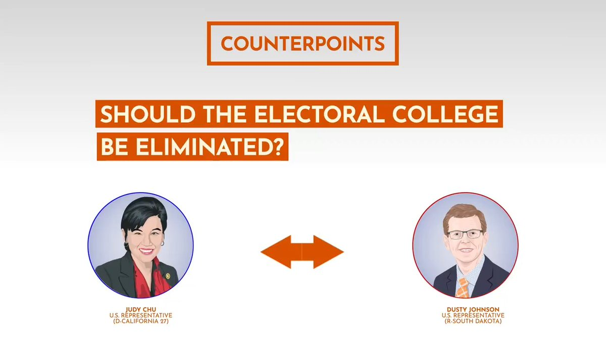 The 2016 election was the 5th time in American history that the presidential candidate with the most popular votes lost due to the electoral college. Hear @RepJudyChu & @RepDustyJohnson discuss their views on the electoral college in this #Counterpoint 👉