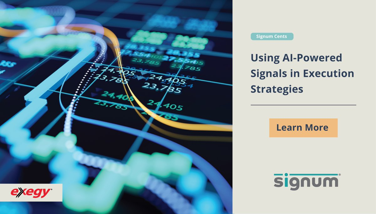 AI-powered predictive trading signals can be used with execution algos to help improve key performance metrics. Learn how Exegy's Signum signals can enhance execution. https://t.co/mFjKw0MU9R #exegy #ai #algotrading https://t.co/BPy7OE6VTw