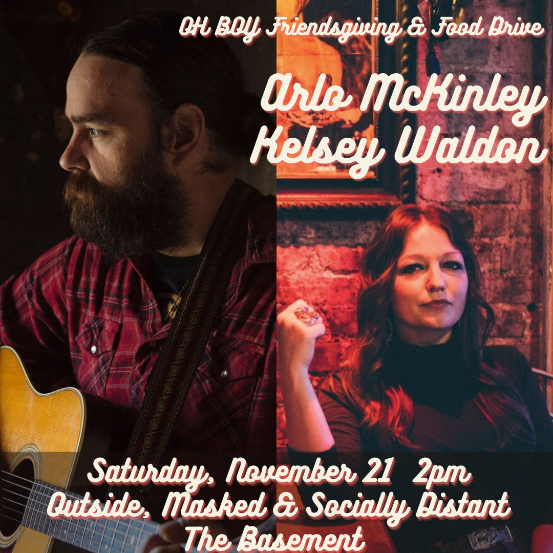 ON SALE NOW! @ohboyrecords Friendsgiving & Food Drive: @ArloMckinley & @kelsey_waldon on November 21st! This show will be outside in the parking lot! Grab your tickets ASAP! ticketweb.com/event/oh-boy-f…