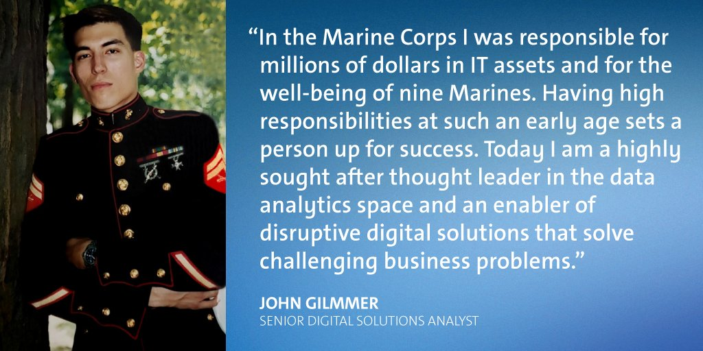 During his time in the US Marine Corps, Corporal John Gillmer specialized in Information Systems Management, which he says laid the foundation for his success in his current role as a Senior Digital Solutions Analyst.
