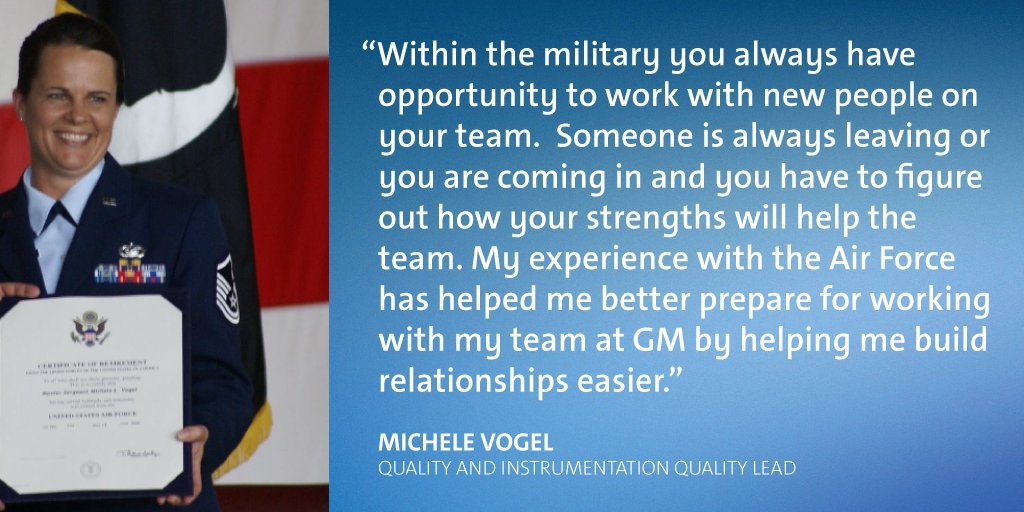 Lastly, Master Sergeant Michele Vogel says her time serving at an Air Force Precision Measurement Equipment Laboratory helped her develop critical relationship building skills, which are vital to her success as a Quality Lead on our Quality and Instrumentation team.