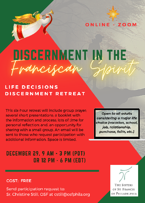 test Twitter Media - Life Decisions Discernment Retreat - This six-hour retreat will include group prayer; several short presentations; a booklet with the information and process; lots of time for personal reflection; and, an opportunity for sharing with a small group. Email cstill@osfphila.org. https://t.co/1WrjS8UVRL