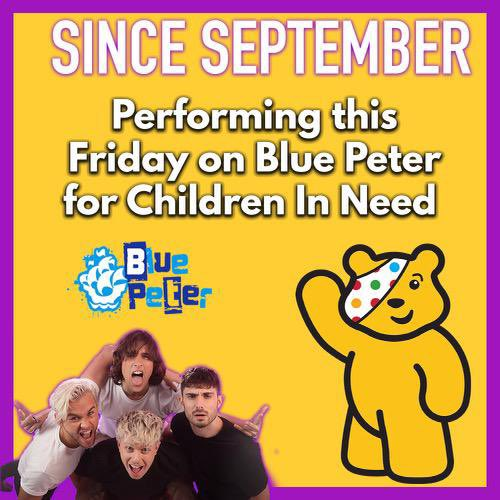 YES, you read that right! Since September will be performing this Friday LIVE on #BluePeter for #ChildrenInNeed !!    Credit: @billybrownhill
