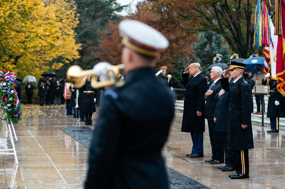 .@SecondLady and I were honored to visit @ArlingtonNatl with President @realDonaldTrump and @FLOTUS today. We'll never forget or fail to honor America's Veterans and we'll always remember the sacrifice of those who did not come home. On behalf of a Grateful Nation, Thank You! 🇺🇸
