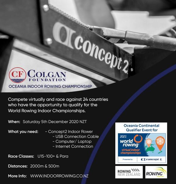 The 2020 Colgan Foundation Virtual Oceania Indoor Rowing Championships is on 5 December! The event is sanctioned as the Oceania Continental Qualifier for the 2021 @WorldRowing Indoor Championships. The event also includes the Colgan Cup, a Trans-Tasman challenge between NZ & AUS! https://t.co/mVLQMV4ogy