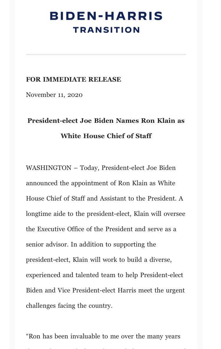NEWS: Biden has named Ron Klain his chief of staff