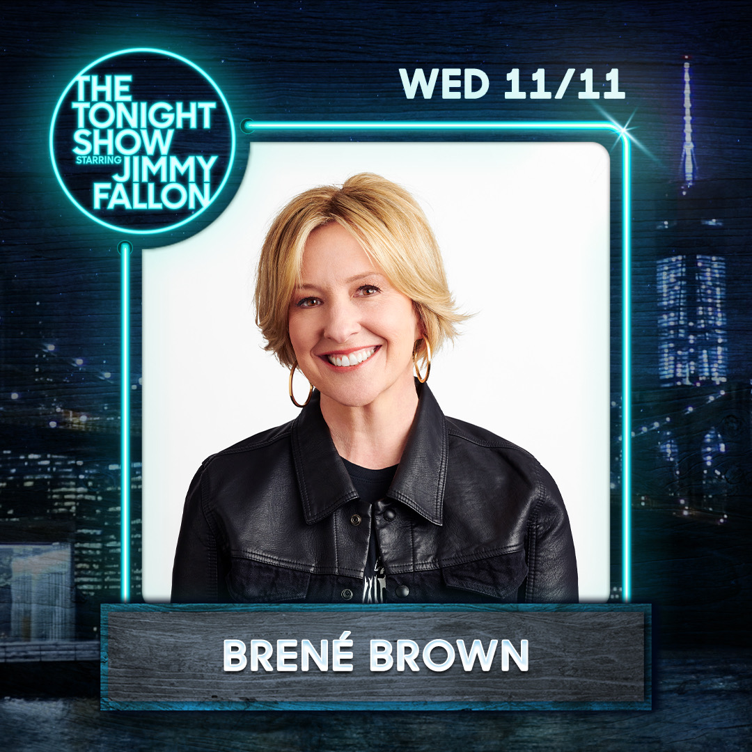 Tonight! On @FallonTonight to talk about the #DaretoLead podcast! And he turned the tables and made me give up the five songs I can't live without. So hard!