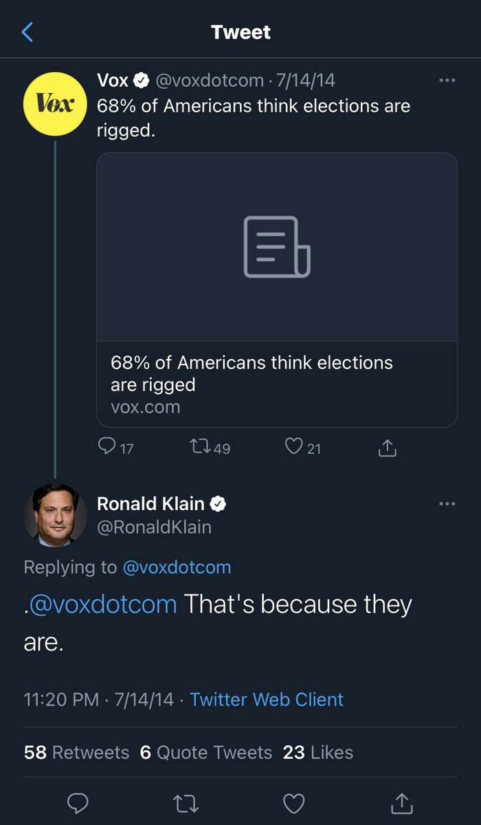 """Stunning. Biden's choice for chief of staff, Ron Klain, agreed that American """"elections are rigged"""" in 2014 tweet. https://t.co/L7RVuiY0a4"""