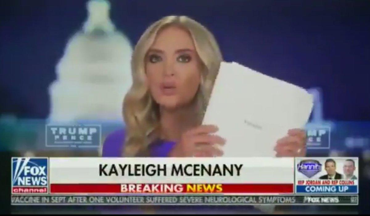"""「ミシガン州の1つの郡だけで60票1束の署名が全て同じ筆跡で行われ、また何度も集計に掛けられた50票の束があり、""""死者""""の投票もあります。立会人が脅されたり、共和党監視員が邪魔されたという234頁に亘る宣誓供述書もあります」とマケナニー報道官。法廷闘争は始まっている。twitter.com/kayleighmcenany"""