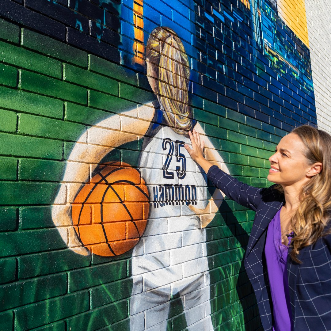 Honoring Coach @BeckyHammon's #NeverStopArriving Journey Mural by Sebastien Boileau @Cadillac #sponsored