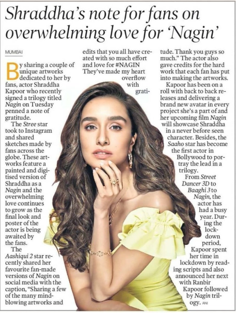 @ShraddhaKapoor 's note for fans  on overwhelming love for 'Nagin'  By sharing a couple of unique artworks dedicated to her by fans, #ShraddhaKapoor who recently singed a trilogy titled #Nagin on Tuesday penned a note of gratitude   #ShraddhaAsNagin 🔥