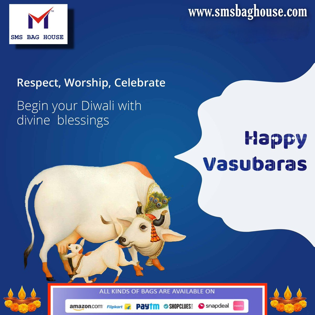 #Happy #Vasubaras to you all, celebrated on first day of #Diwali with a message of love and generosity.  . . . . . . . . . . #smsbag #smsbaghouse #MyAtMyStyle #HappyDiwali #SwagSafeTravels #TheBigBillionDays #DiwaliSale #onlinesale #Amazon #pubgbag #flipkartipkartbigbilliondays