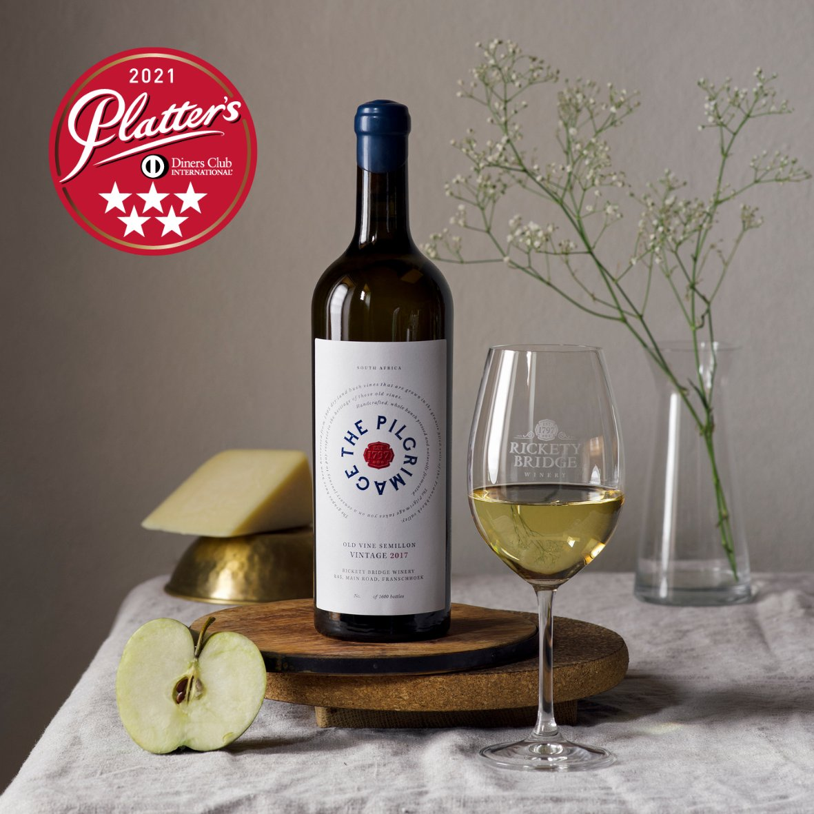 We're delighted to announce that #ThePilgrimage Semillon 2018 has been awarded 5-stars for the second year in a row, by #Platters2021.   Congratulations to our wine-making team on these outstanding results!   Purchase our current vintage online >   🥂