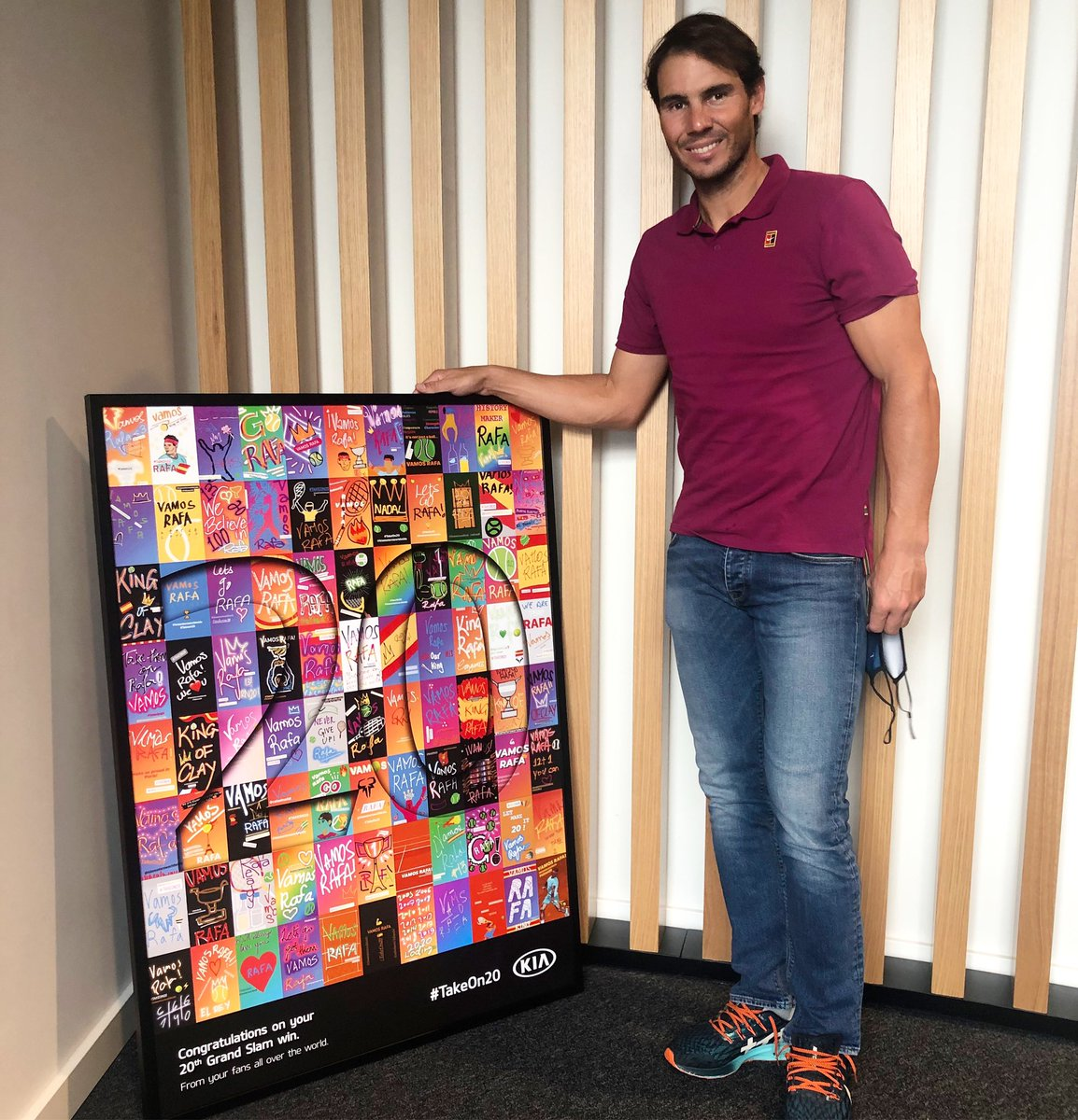 Thank you to everyone who shared messages of support to help inspire @RafaelNadal to #TakeOn20 🏆 Using all the messages that fans created, our friends at @Kia_Worldwide created this piece of artwork for Rafa‼️ VAMOS‼️  @frnadal