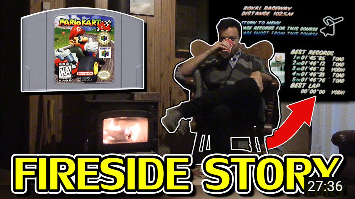"""RWhiteGoose - Here we go! A fireside story, about the legendary """"00'00""""00"""" timer glitch seen in Mario Kart 64, once, in 1998. With photographic evidence!  May this video help you relax, find inner peace, or drift off to sleep. 🙏😴💤🔥  Get comfy & enjoy! ☕️"""
