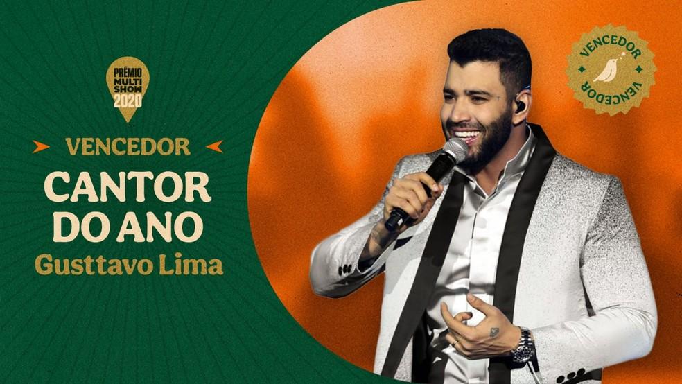 """¿Cancelar yo?  Gusttavo Lima venceu a categoria """"CANTOR DO ANO"""" do Prêmio Multishow 2020."""