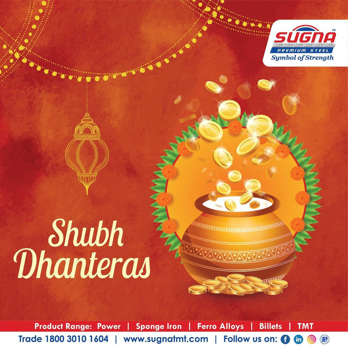 Happy Dhanteras to all from sugna metals.  #Sugunatmt #happynavratri #Navratri  #sugnaturbofe550 #sugnafe500 #sugnametals #besttmtinhyderabad #tmtmanufacturer #Power #Spongeiron #Billets #TMT #ferroalloysplant https://t.co/EE8Ojw2ACI