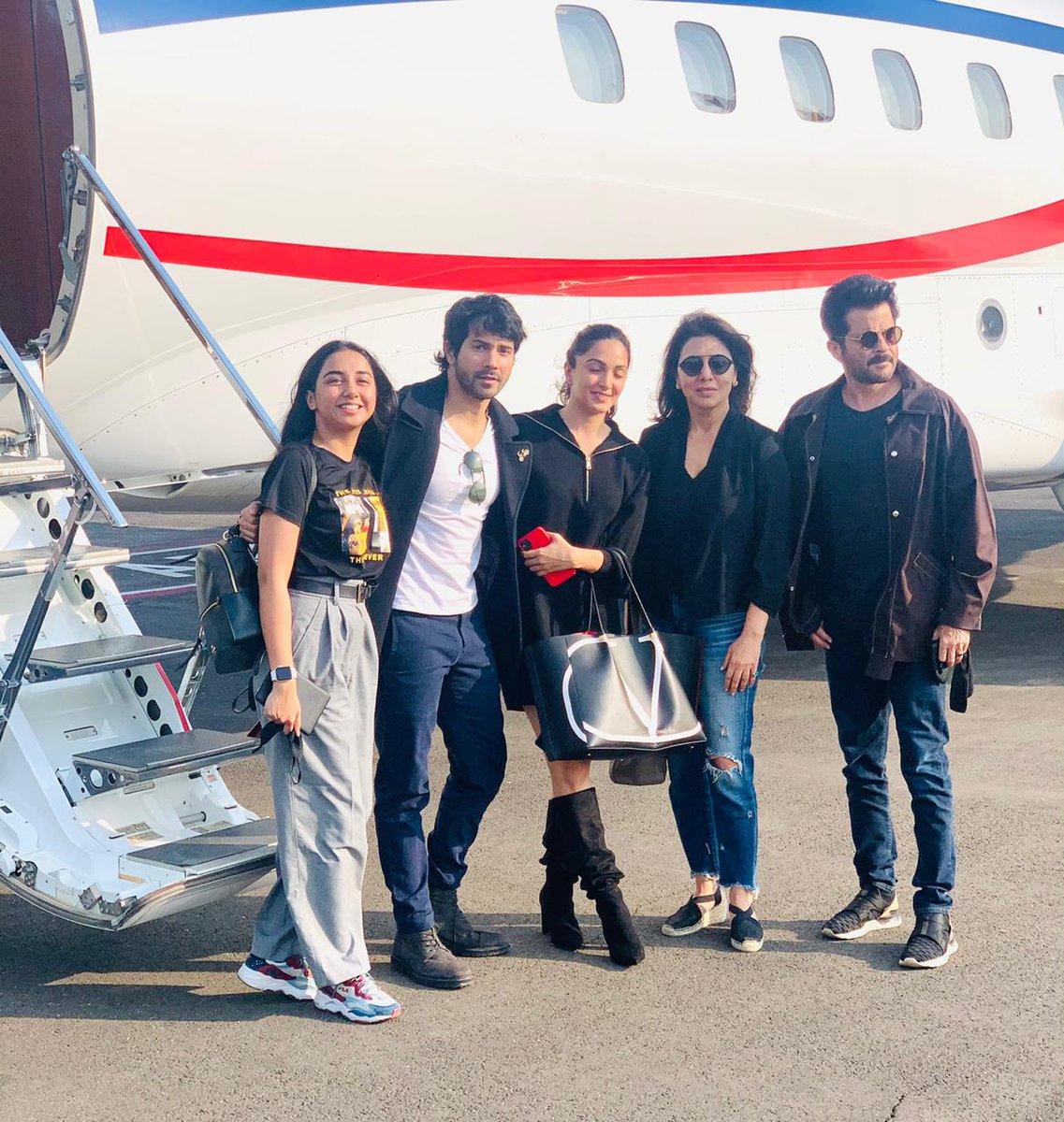 And we are off ✈️ !! #JugJuggJeeyoBegins  #NeetuKapoor @Varun_dvn  @advani_kiara  @iamMostlySane   @raj_a_mehta  @DharmaMovies