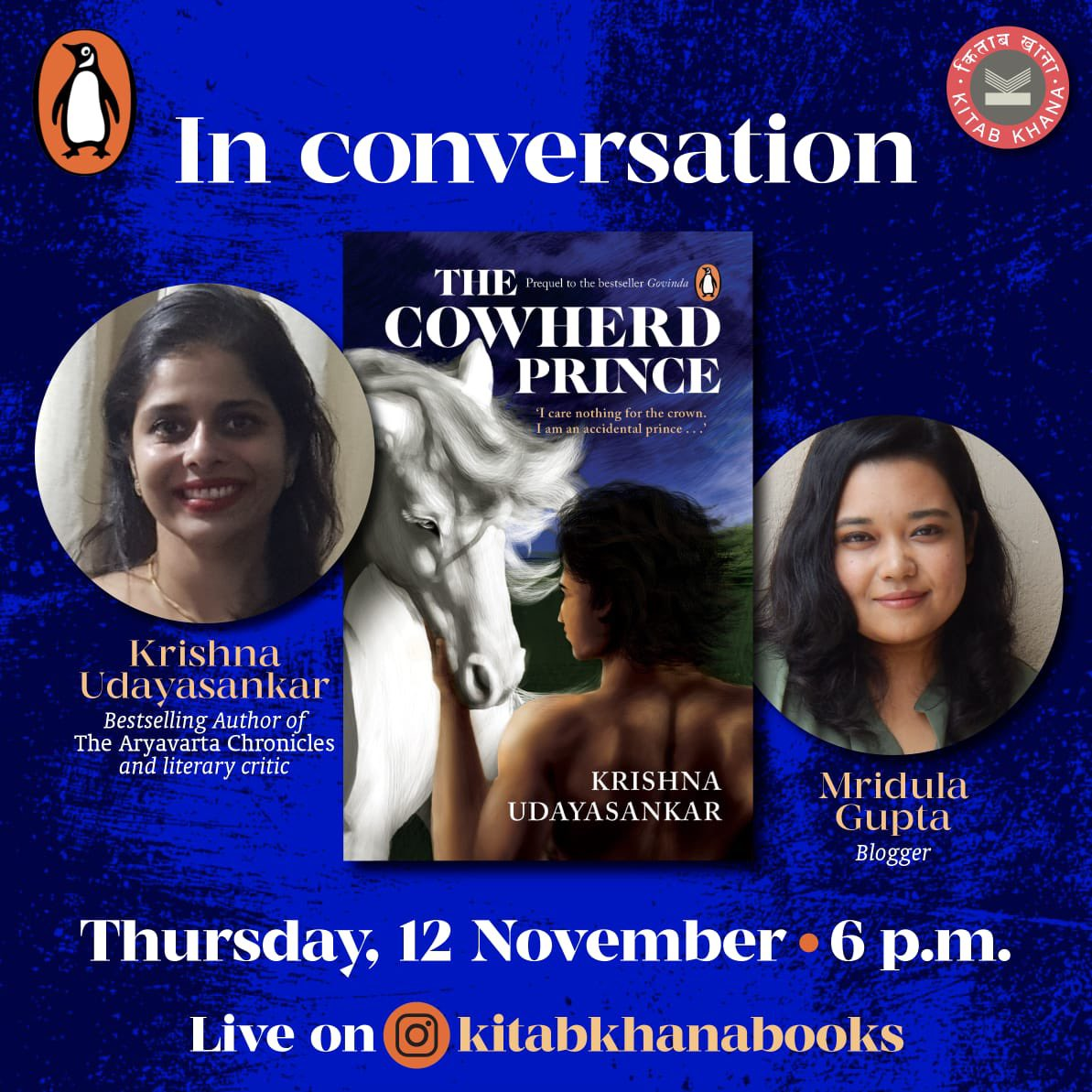 Join us for a LIVE a conversation with @krisudayasankar today at 6pm. @KitabKhanaBooks #TheCowherdPrince
