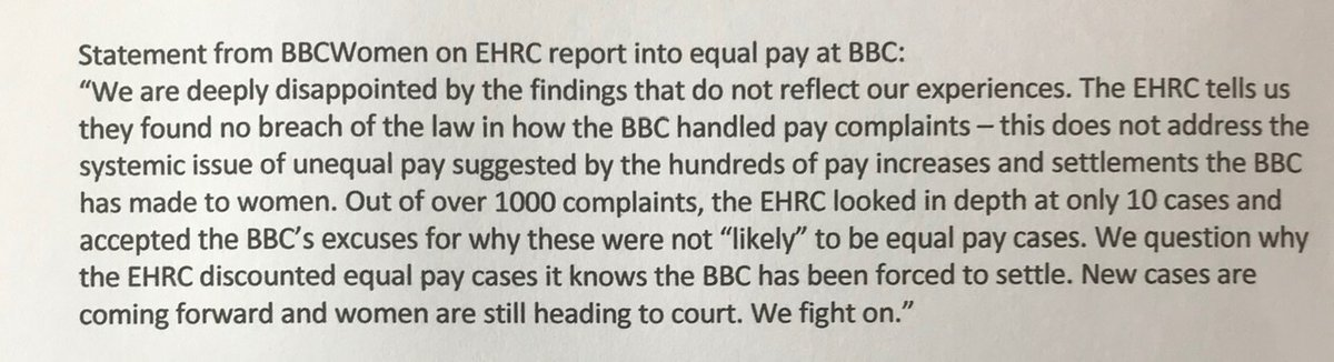 Statement from BBCWomen re: @EHRC report into equal pay @BBC: