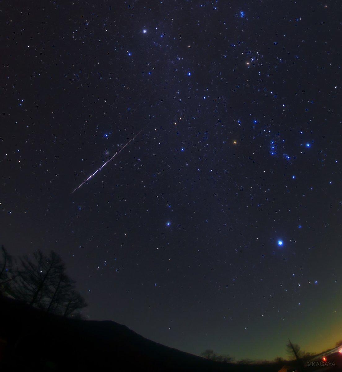 冬のダイヤモンドからこぼれ落ちるように明るい流れ星。 (本日未明撮影) 冬の大六角形は冬のダイヤモンドともいわれます。 この流れ星は写真右上のおうし座の方向から流れましたので、おそらくおうし座流星群です。 火の粉をちらすようにゆうゆうと流れていきました。