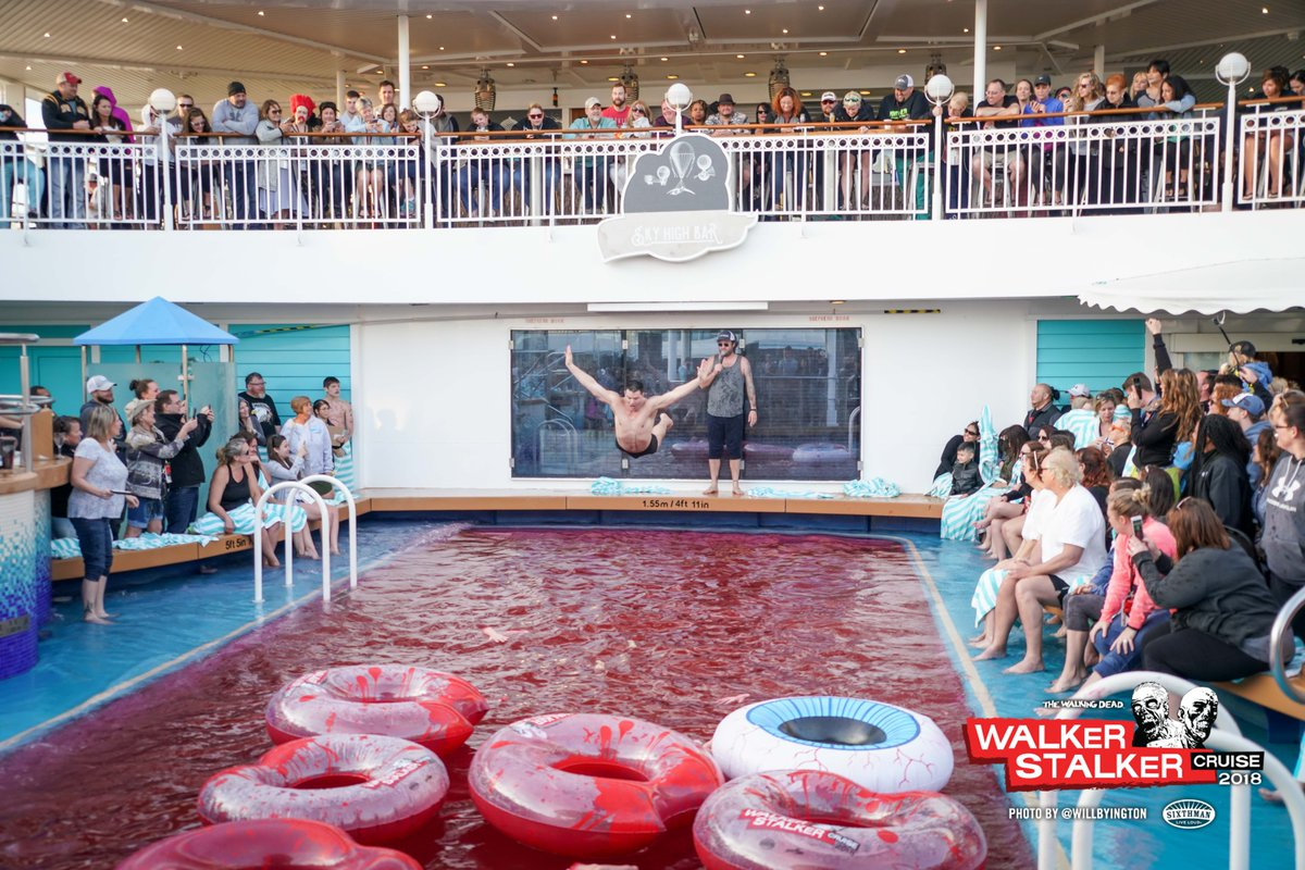 Who remembers when we dyed the pool red on board our #WalkerStalkerCruise?!