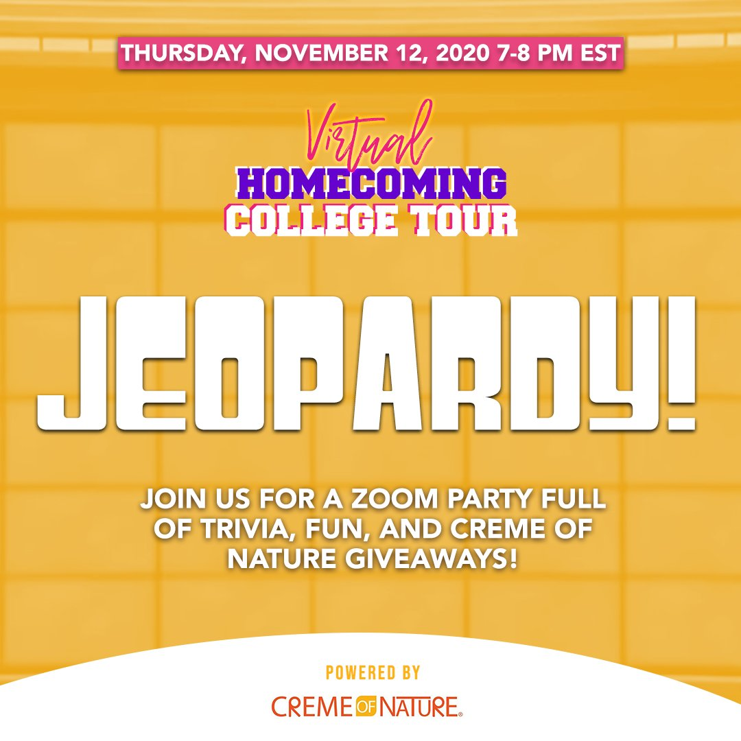 Join us #TONIGHT at 7pm (EST) for a fun game of #Jeopardy! There will be trivia and opportunities to win some @CremeOfNature Pure Honey products!⁠ Oh, and you get FREE products just for signing up and attending. ⁠  #hbcuhomecoming #homecomingseason