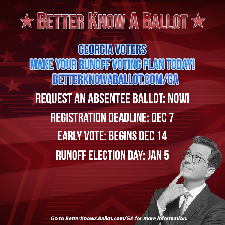 🚨 GEORGIA VOTERS 🚨  REQUEST YOUR ABSENTEE BALLOT FOR THE SENATE RUNOFF ELECTION TODAY! https://t.co/UAzn5HGkZG #BetterKnowABallot https://t.co/PDsrioY5qn