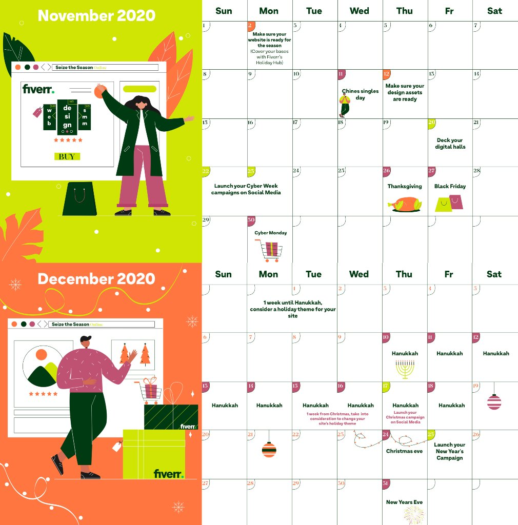 """ATTN Business owners! We collaborated with Fiverr seller, """"Nastyacollins"""" to create this colorful seasonal calendar for Nov-Dec complete with holiday-related tasks for business owners.   Click here to download now: https://t.co/AMj8kpYB33 https://t.co/oAdCOtFCuS"""