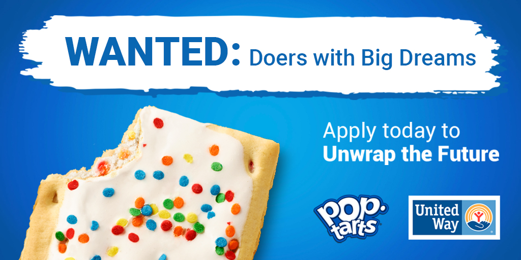 We're looking for hand-raisers ages 13-22 to unwrap a better future. 🌟 Jump start an idea for your community with funding from @PopTartsUS and United Way. Apply now:    #FutureUnwrappedChallenge #LiveUnited