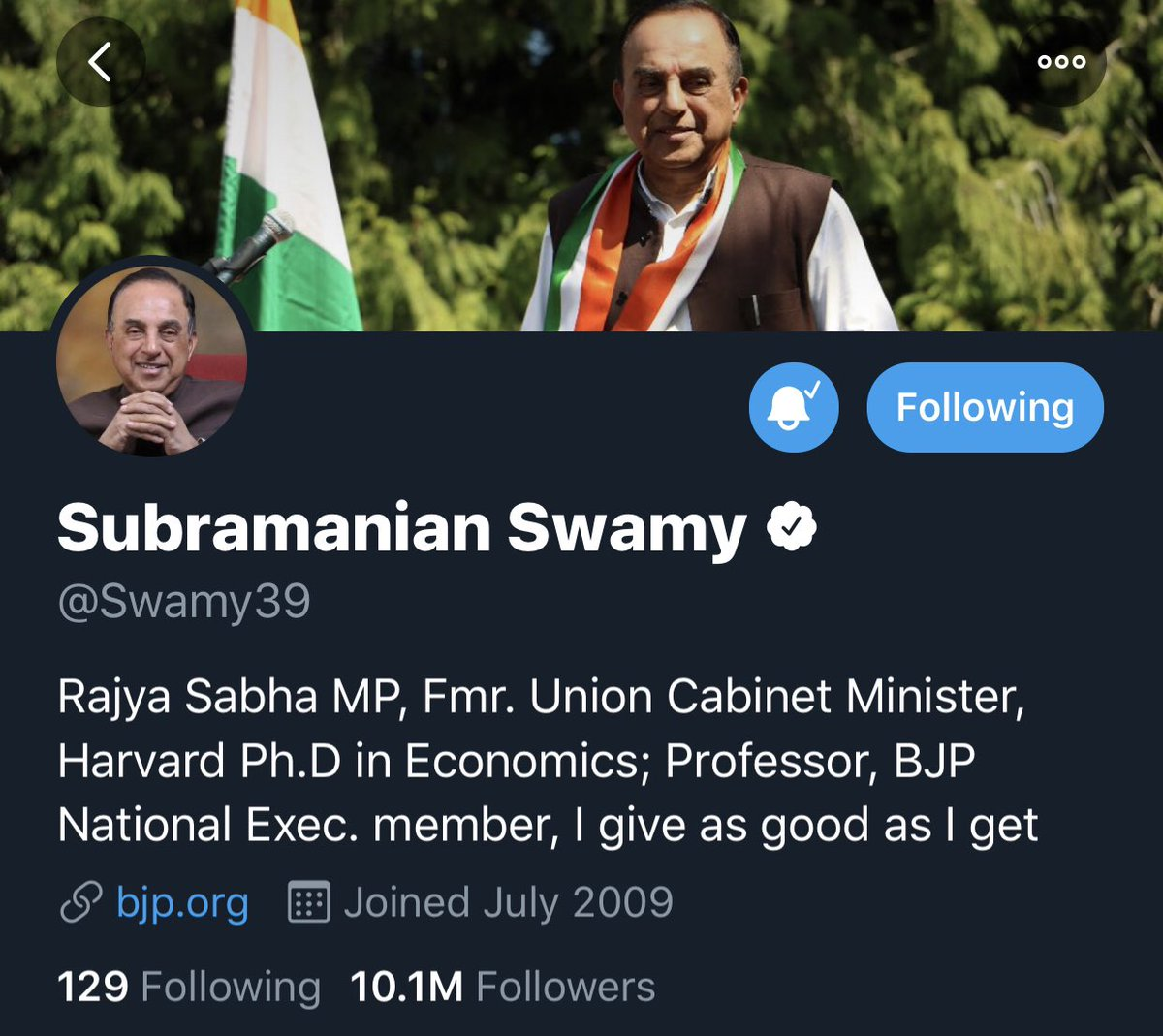 RESTORED Twitter could have been responsible enough @Swamy39 ji's account is a verified account.These cheap antics will not stop his blitzkrieg better be warned Bangla @jagdishshetty A Bangla Deshi guy had claimed copyright on the 2 photographs on Twitter profile of Dr SwamyJi.