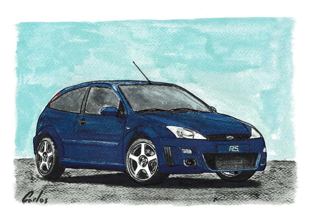 Coches míticos - Ford Focus RS  #art #watercolor #acuarela #arte #coches #cars #drawing #drawtodrive  #ford #focus #fordfocus #focusrs #turbo https://t.co/CQZUlAL5Mi