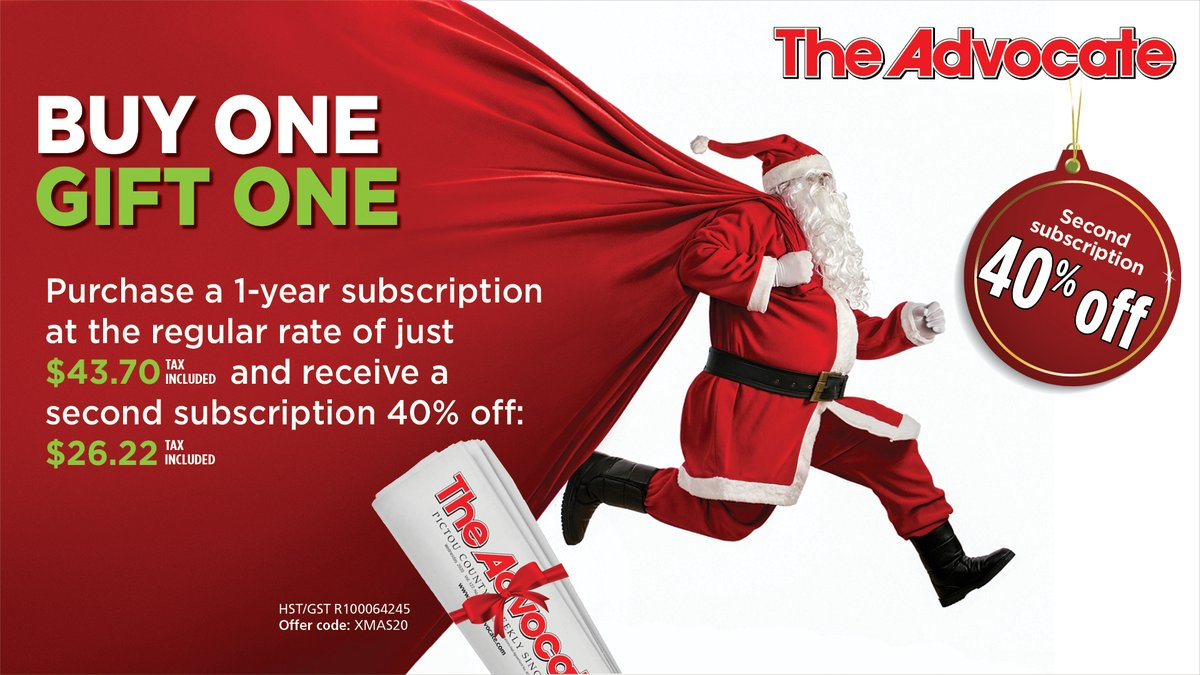 Finish up your holiday shopping. Call Myra: (902) 485-8014. This offer expires December 22. Offer valid for Canadian subscriptions. Senior rate available on first subscription, 40% off only applicable to regular rate.
