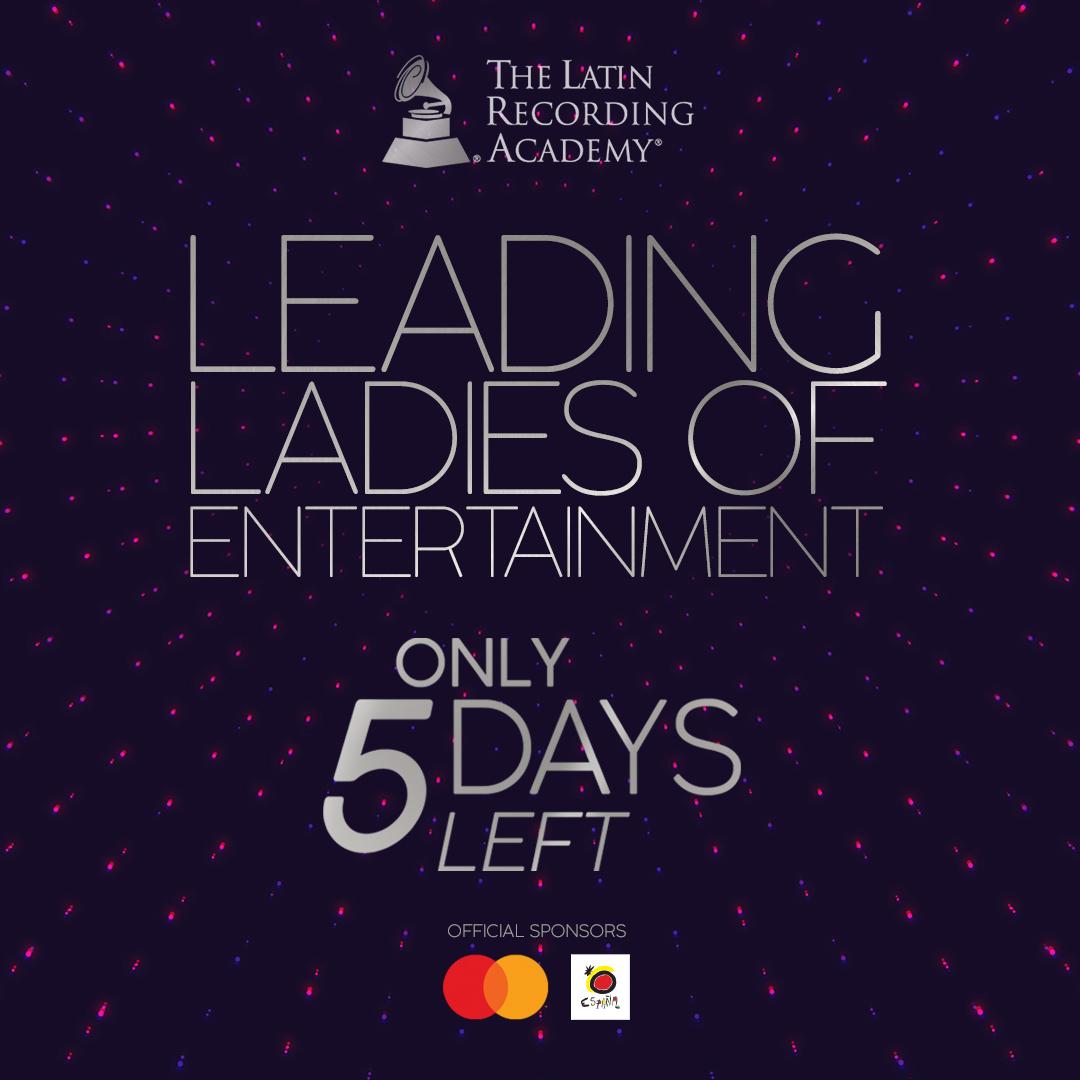 5 DÍAS 🎶👏 Qué orgullo tener a @selenagomez, @GOYOCQT, @MeccaMalone, @MariaESalinas como homenajeadas de Leading Ladies of Entertainment 2020 presentado por @MastercardLAC y @SpaininUSA ¡No te lo pierdas! NOV. 17th https://t.co/rCnZaFiu8h