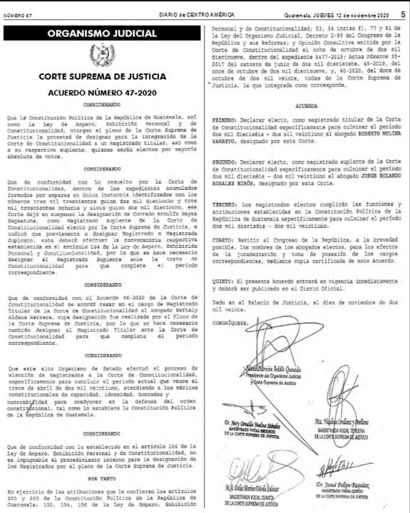La Corte Suprema de Justicia publica el acuerdo 47-2020, donde declara electos a los profesionales:  ▶️Roberto Molina Barreto, Magistrado Titular 🔵Jorge Rolando Rosales Mirón, Magistrado Suplente  Por la CSJ, para terminar el periodo que finaliza el 13 de abril del 2021