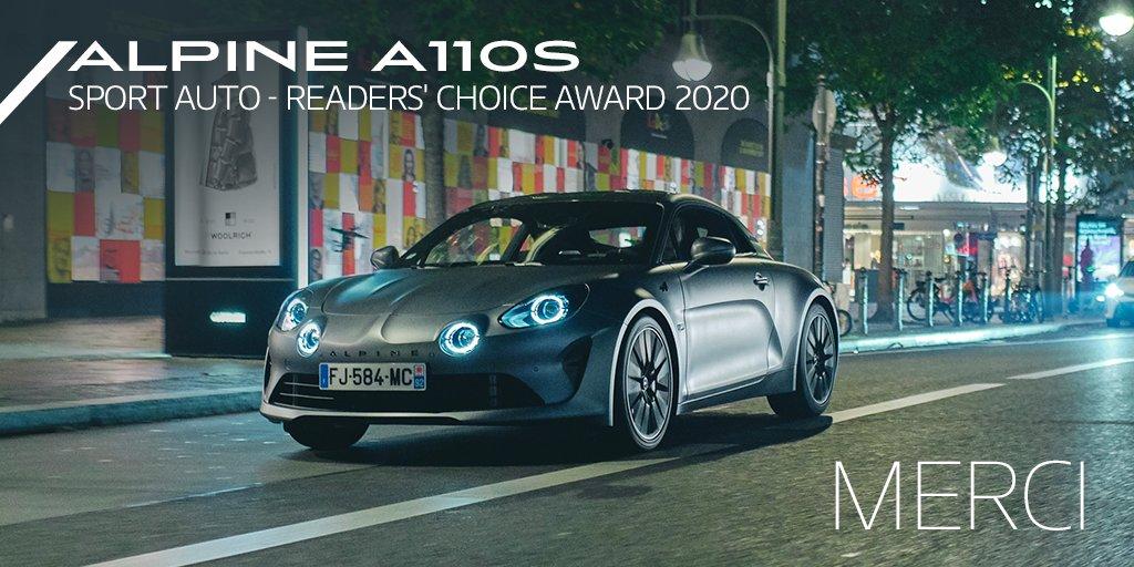 L'#AlpineA110S est élue pour la deuxième fois consécutive par les lecteurs du magazine allemand « Sport Auto » dans la catégorie « Coupés » classement véhicules importés. Merci !