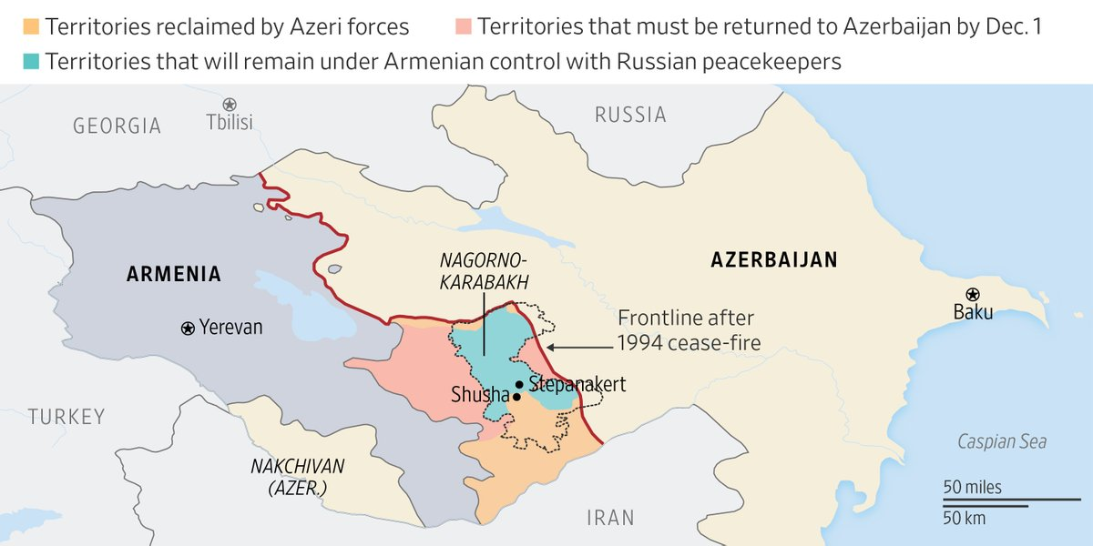 """The Wall Street Journal on Twitter: """"Anger exploded in Armenia over a peace agreement brokered by Moscow to end a war for control of Nagorno-Karabakh. If Tuesday's pact is enforced, Armenians will"""