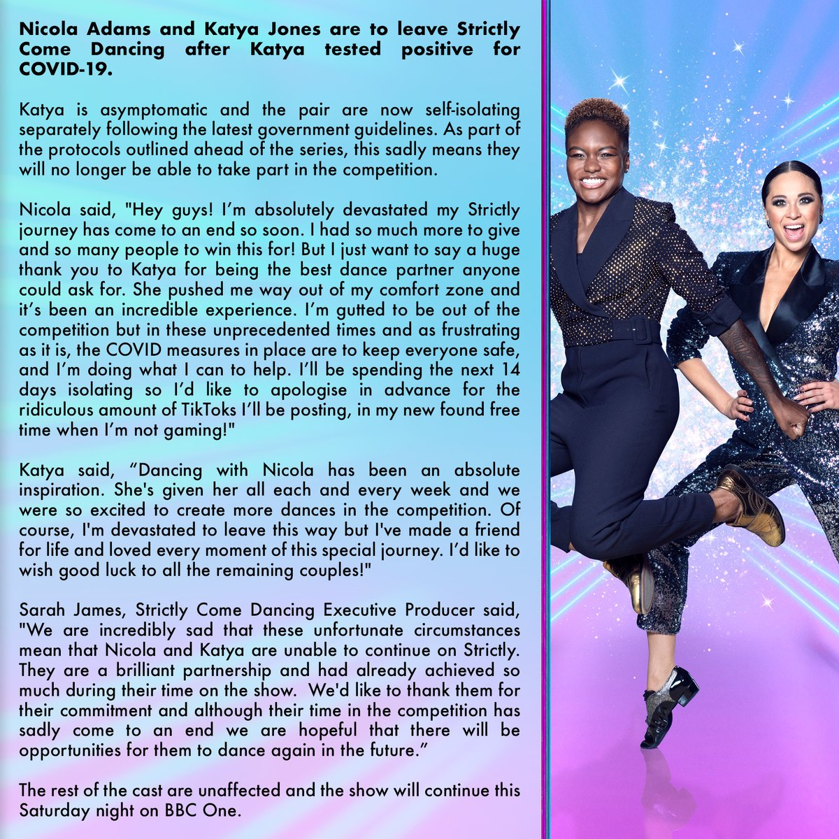 Sadly Nicola and Katya are leaving #Strictly Come Dancing. Full statement here 👉