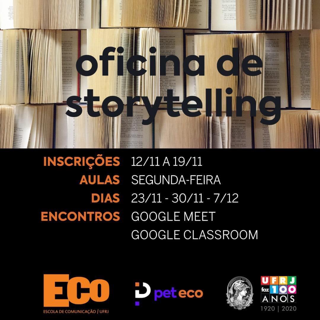 #oficinaspet2020 🗣🗣  Que tal aprender mais sobre storytelling?  Nossa oficina gratuita está com as inscrições abertas até o dia 19 de novembro!  Link: https://t.co/j5PRHYRbsj https://t.co/WljZIZrAgM