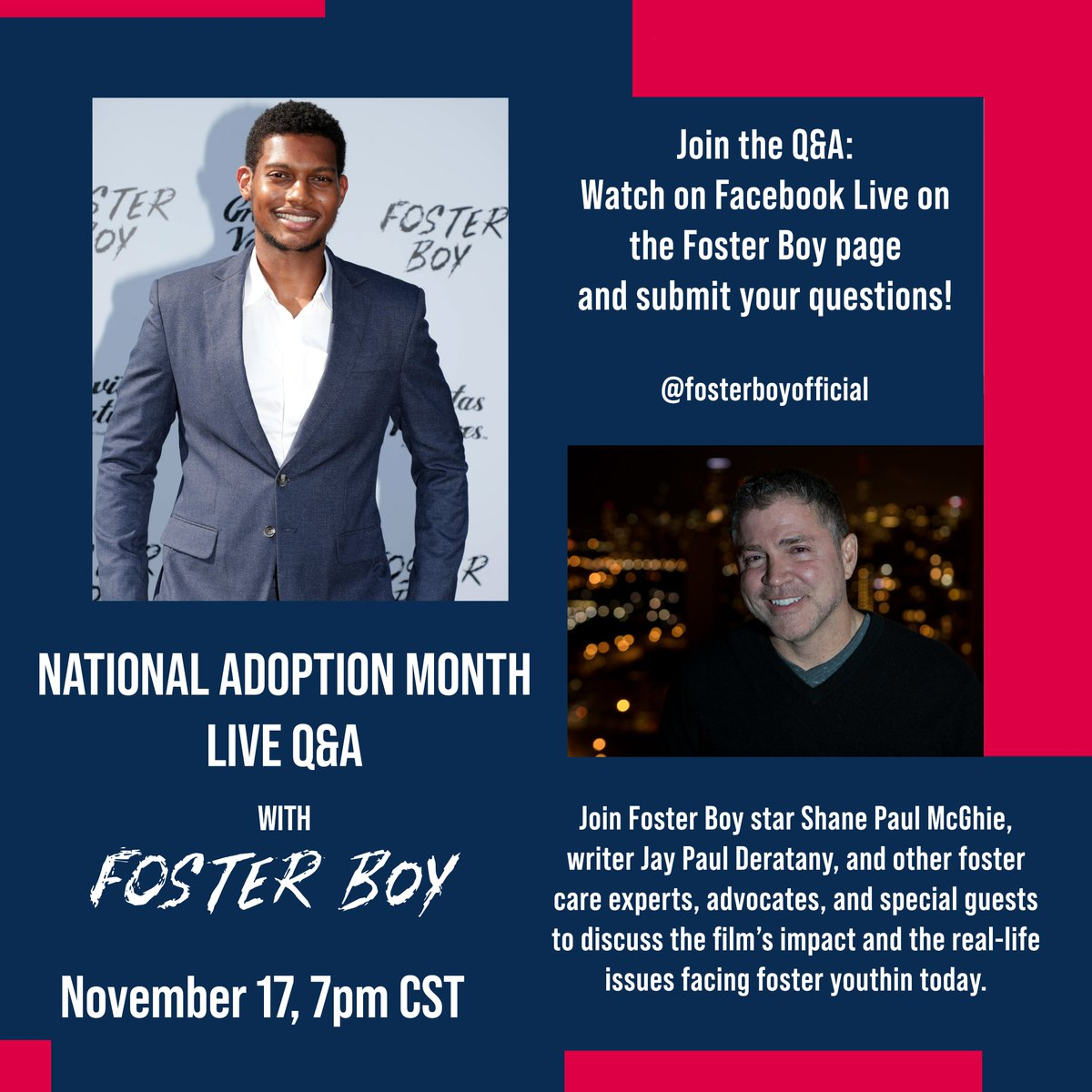 In honor of #NationalAdoptionMonth, that we are hosting a LIVE Q&A on our Facebook page! Join the film's writer  @deratany, members of the cast, & reform activists, on November 17th at 7pm CST to discuss the movie's inspiration and the real-life fight to #FixFosterCare.