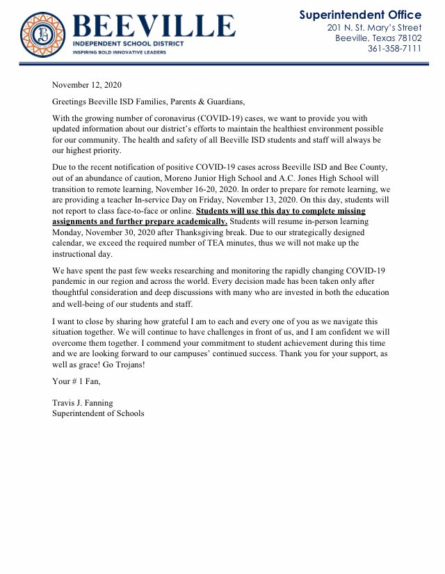 Please see the attached message from Superintendent Fanning