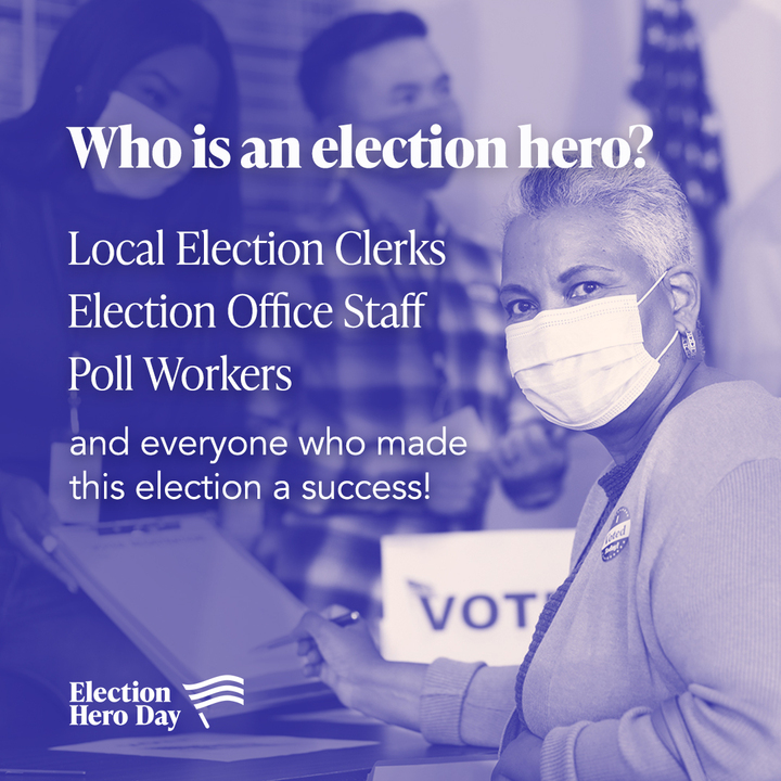 From filling major poll worker shortages to processing record numbers of mail-in ballots, our friends and neighbors stepped up in a huge way to ensure we could vote safely and successfully in the 2020 election.  #ThankYouElectionHeroes