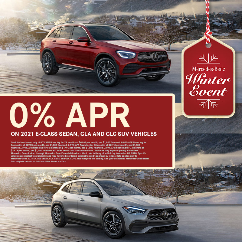 If you've got a 2021 @Mercedes-Benz GLC SUV, GLA SUV, or E-Class on your wishlist this holiday season, you'll want to make sure that Santa knows there's 0% APR on these models for a limited time! #winterevent https://t.co/e7F5OTqeIz